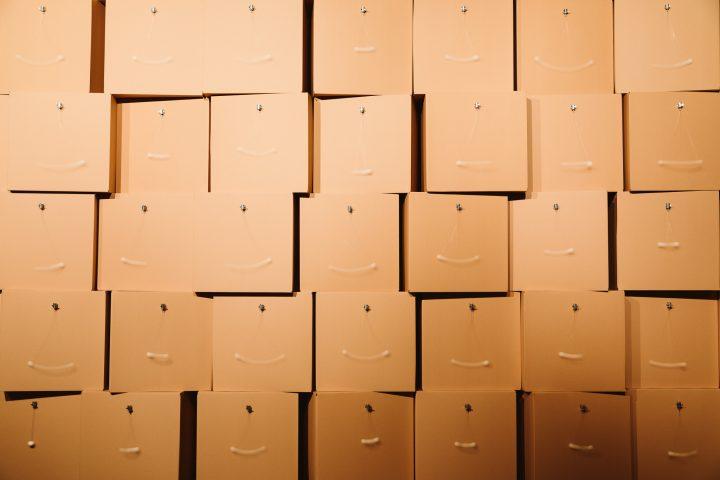 Zimoun- 216 prepared dc-motors, cotton balls, cardboard boxes 70x70x70cm, Signal Festival 2018